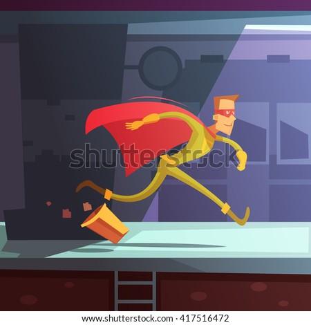 superhero running in the street