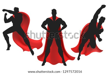 Superhero silhouette. Powerful man silhouettes figure with super hero red cape vector illustration