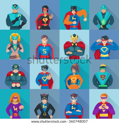 superhero square shadow icons