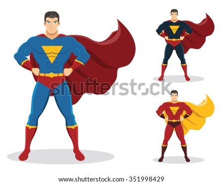 Superhero standing with cape waving in the wind. On the right are 2 additional versions. No gradients used.