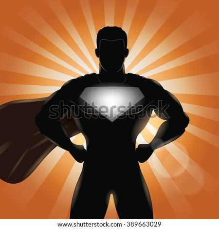 superhero standing with hands