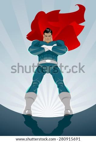 superhero stands on the sunrise