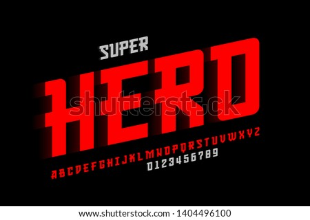 Superhero style comics font design, alphabet letters and numbers vector illustration