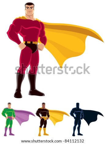 Superhero: Superhero over white background. Below are 3 additional versions. One of them is a silhouette. No transparency and gradients used.