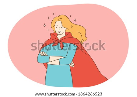 Superhero, superman, power concept. Young smiling woman in red superman costume mantle standing imagining superpower and strength. Fantasy, imagination, justice, strength, champion illustration