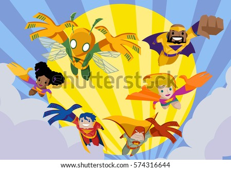 superhero team jumping flying