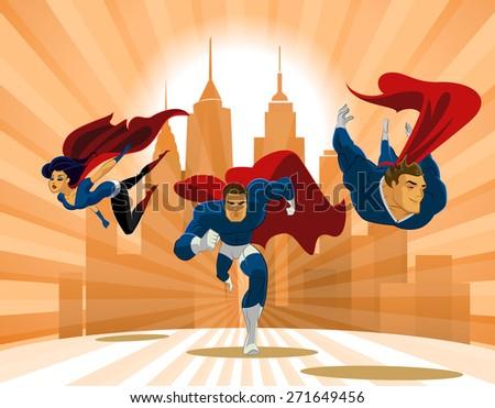 stock vector superhero team team of superheroes flying and running in front of a urban background 271649456 - Каталог — Фотообои «Для детской»