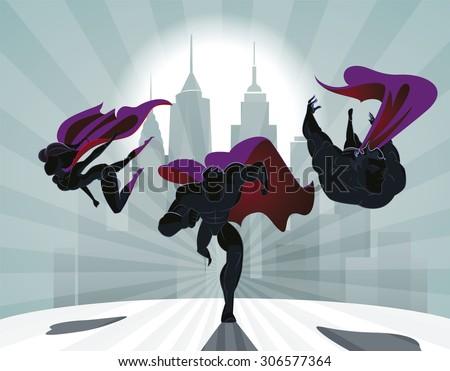 stock vector superhero team team of superheroes flying and running in front of a urban background 306577364 - Каталог — Фотообои «Для детской»