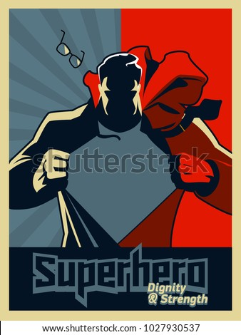 Superhero tearing his shirt. Vector illustration. Blue and red graphic. Illustration. Silhouette