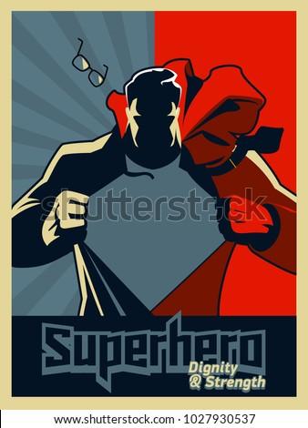 superhero tearing his shirt