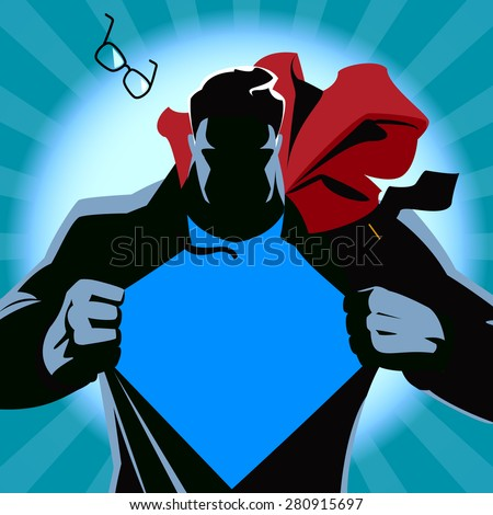 Superhero tearing his shirt. Vector illustration. Silhouette