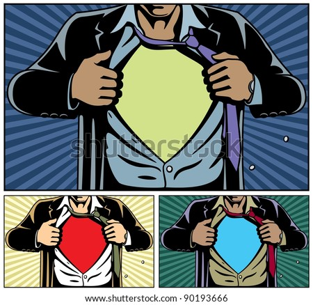 Superhero under cover, comic book style. Add your logo on the shirt. Colors are very easy to change.