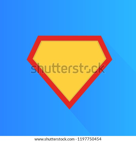 Stock Photo Superhero vector icon, modern and flat logo figure. Superman shield shape isolated on blue background. Superman logo frame.