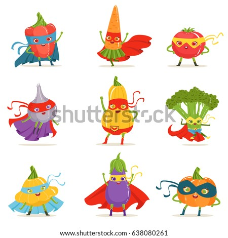 Superhero Vegetables In Masks And Capes Set Of Cute Childish Cartoon Humanized Characters In Costumes