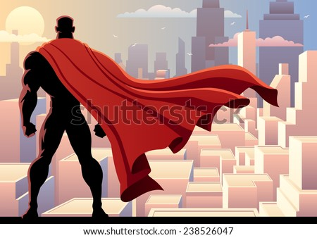 stock vector superhero watch superhero watching over city no transparency used basic linear gradients a 238526047 - Каталог — Фотообои «Для детской»