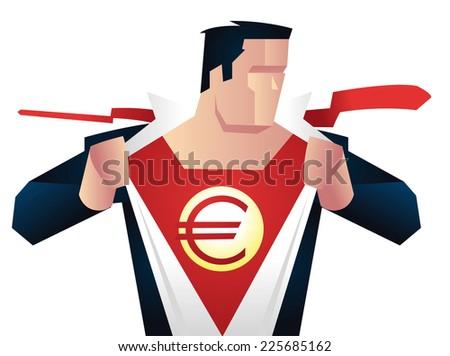 superhero with euro sign on