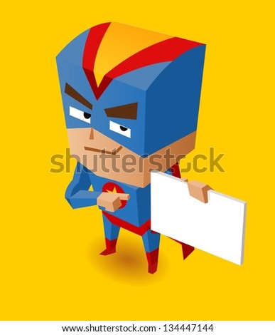 Superhero with sign board. Vector Illustration