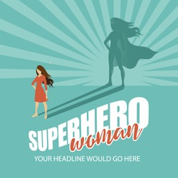 Superhero woman burst background EPS 10 vector