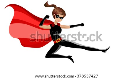 superhero woman fighting karate ...
