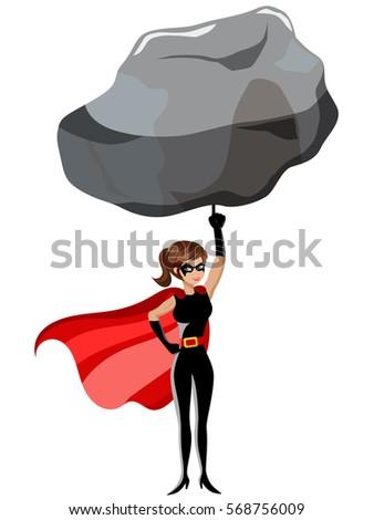 superhero woman lifting large