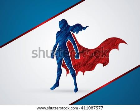 superhero woman standing using