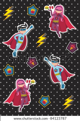 Superheroes kids floating in the air with a tray of fast food in hand on black background with little stars. Vector available.