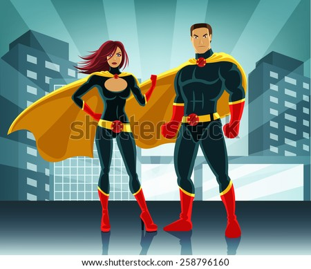 superheroes vector colorful