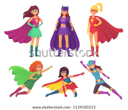 Superheroes women characters. Wonder female hero character in superhero costume with waving cloak mantel disguise fitness female muscular pose game figure. Super girls cartoon vector isolated icon set