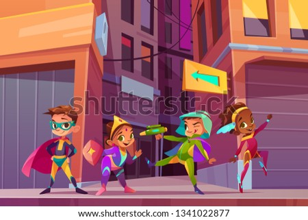 Superheros children on city street cartoon vector concept with happy smiling, multiethnic boys and girls in fantasy or fairy tale costumes, playing and having fun outdoor illustration. Costumed party