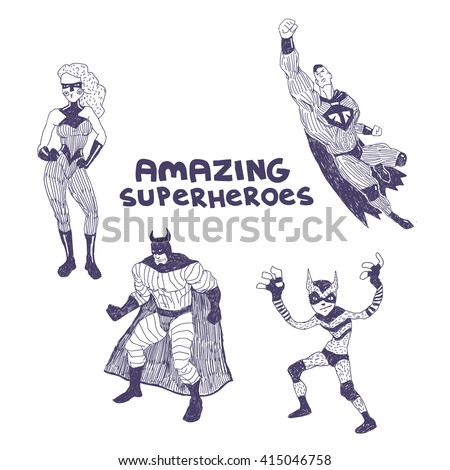 Superheros sketchy vector drawings set isolated on white background