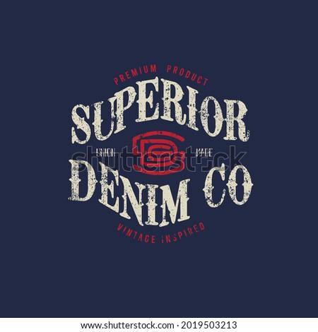 Superior Denim  co vintage varsity typography t shirt print design vector Illustration, clothing,poster, signature, label,banner design    Photo stock ©