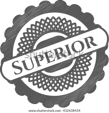 Superior emblem with pencil effect