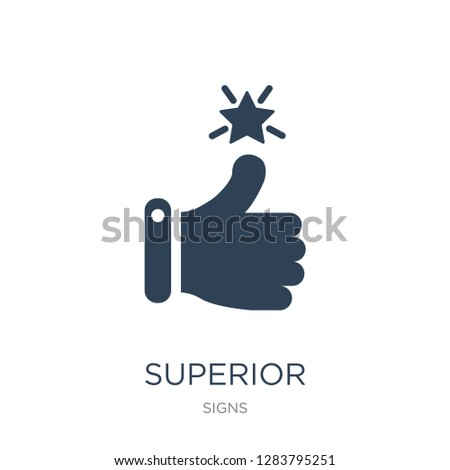 superior icon vector on white background, superior trendy filled icons from Signs collection, superior vector illustration Foto d'archivio ©