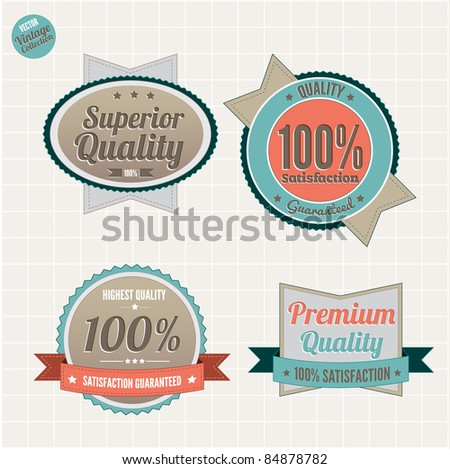 Superior Quality and Satisfaction Guarantee Badges Set  with retro vintage style
