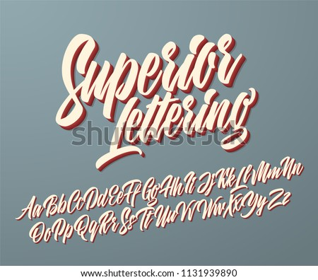 Superior vintage lettering alphabet. Vector font