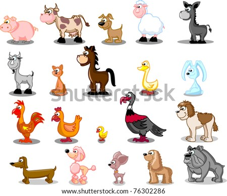 superlarge cartoon set pets