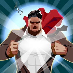 Superman businessman open his shirt. Superhero