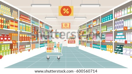supermarket aisle with shelves  ...