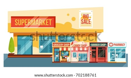 Supermarket and small magazines cityscape, flat style. Modern view vector illustration
