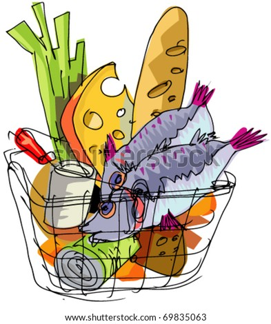 supermarket basket with food - stock vector