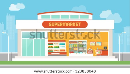 Supermarket building and interior with products on shelves and shopping cart checkout, city skyline on background