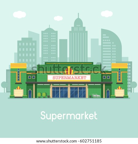 Supermarket building concept vector illustration. Large food store facade on modern city background. Super market or grocery store exterior in flat design.