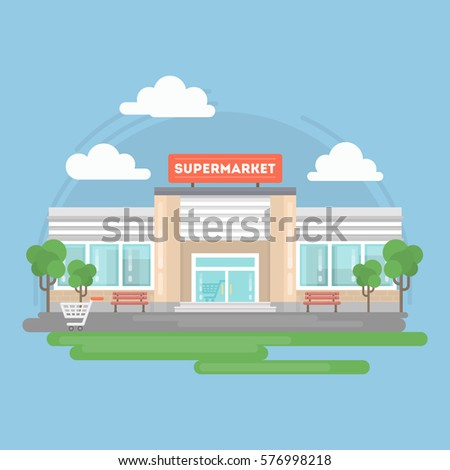 Supermarket building isolated with landscape as trees, sky and clouds.