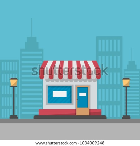 Supermarket building on modern city street background. Vector illustration.