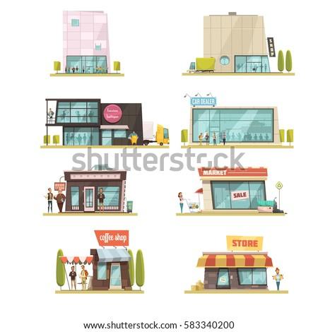 supermarket building set with...