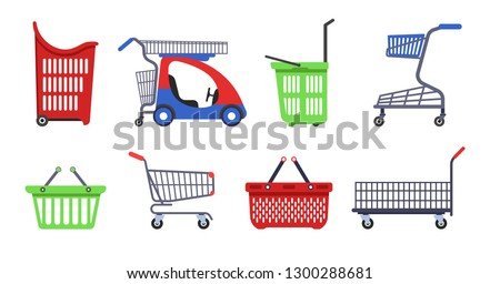 Supermarket carts and baskets shopping trolleys vector shop container for products collecting children mini car heavy goods and small purchases porters on wheels or with handles isolated objects.