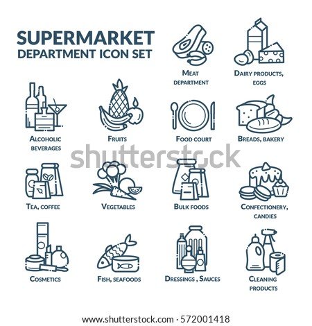 Supermarket department icon set for navigation. Vector illustration