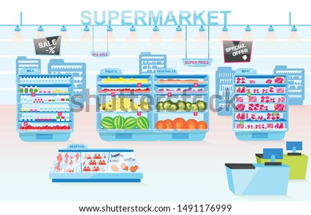 Supermarket departments flat vector illustration. Shelves with different products. Vegetables, meat, seafood, fruits and milk divisions. Grocery store interior. Consumerism and merchandise