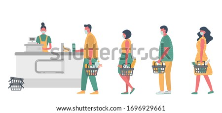 Supermarket during the coronavirus epidemic. Supermarket cashier in medical mask. Buyers wearing antivirus masks keep their distance in line to stay safe. People have food baskets in their hands