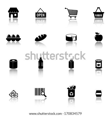 supermarket  groceries icons